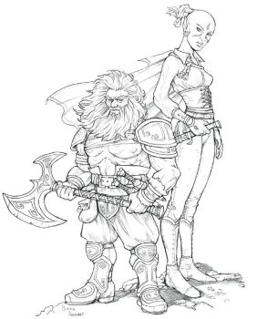 Dwarf and Elf by staino