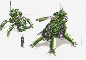 spider mechas by TheUncannyKen