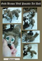 Gold Brown Wolf Posable Doll by Eviecats