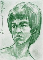 Bruce Lee Sketch card by mainasha