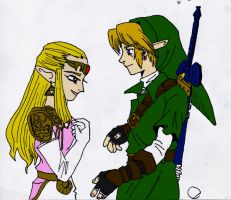 Link and Zelda by WryFighter