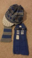 TARDIS Beanie and Scarf set by CelestialAngelDust