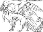 Cat Creature Lineart by DracoFeathers