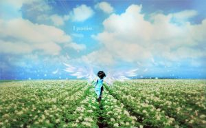 rinoa heartilly angel wings and field by Piccolapiplup