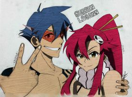 Kamina x Yoko Littner (colored) by Izham-ZK9