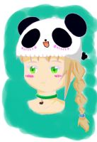 Girl with a Panda Hat by flowers32