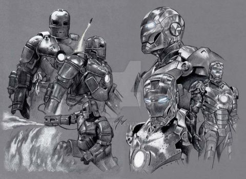 Iron Man Mark I and II Armour by GabeFarber