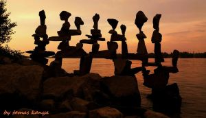 Stone balance in the sunset(Hungary)by tamas kanya by tom-tom1969