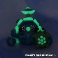 Polymer Clay Robot I Love Turtles Glow Figurine by KIMMIESCLAYKREATIONS