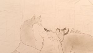 Balto and Jenna by cookiefur