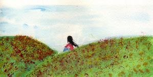 watercolor girl in a field by Midniteoil-Burning
