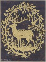 Deer and Oak Papercutting by swandog