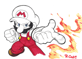 Ink doodle FireMario by rongs1234