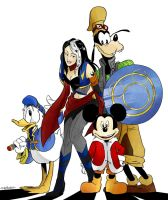 Hayley, Mickey, Goofy and Donald (OC request) by sillyVantas