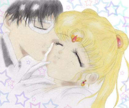Tuxedo Mask+Sailor Moon colour by Valynia