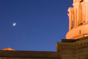 Moon, Venus and Jupiter by redwoodtwig