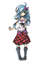 Blue Hair Girl Bow by Jump-Button