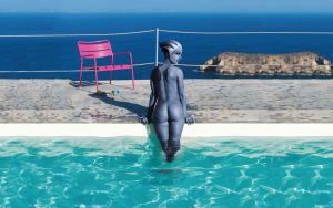 Liara T'Soni - By the pool by RenderEffect-Dan