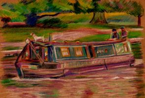 Canal Boat Drawing by 80sdisco