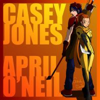 Casey Jones and April O'Neil by amateurartworker