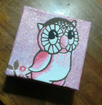 Glitter Owl Canvas Commission by Tinalbion