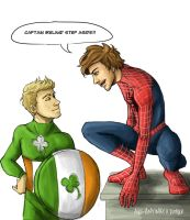 Spiderman!Louis and Captain!Niall by AkiTheBonez
