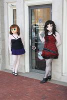 Red and Kuri go window shoping by Cazpoke