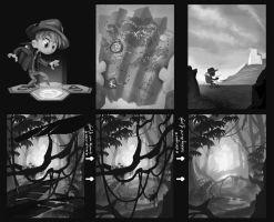 Temple Tap: Story Board Value Thumbnails by Asashi-Kami