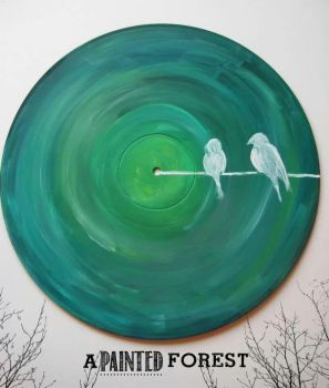 vinyl record painting - birds on a wire by paperheartsyndrome