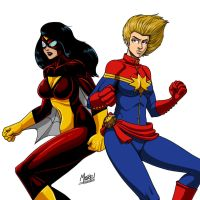 Stream - Spider Woman and Captain Marvel (Colored) by SeanRM