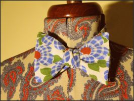 Vintage Flower Fabric Bow Tie by weblore