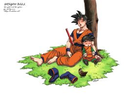 Son goku and gohan by oume12