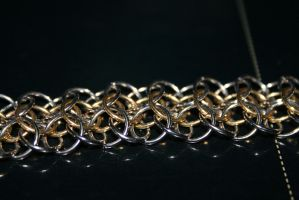 Gold and silver chain closeup by DrkVenom