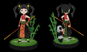 Game character: panda girl fighter by Chartreuse-Gale