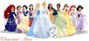2012 Disney Princess Line-Up by Elemental-Aura