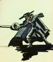 Shadow boxing Zorro: By Don Whitt in India ink by donwhitt