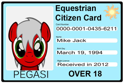 Jack's Equestrian Citizen Card by TheMikeJack01