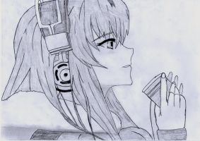 Headphone Anime Girl Drawing by 1DragonWarrior1