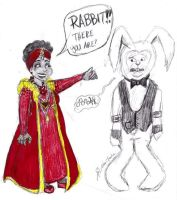 AIW Red Queen and White Rabbit by AtomykTickTock