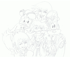 Kingdom hearts group lineart by ConkerTSquirrel