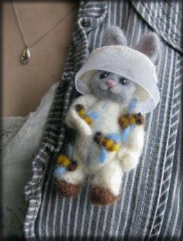 Honey Bunny Needle Felted Brooch by Unfairytales
