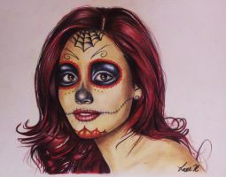 Color Sugar Skull Female by laart39