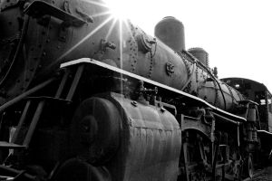 Sunburst upon steam engine by clippercarrillo