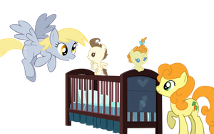 Derpy and Carrot Top Watch Over The Baby Cakes by ShadyHorseman