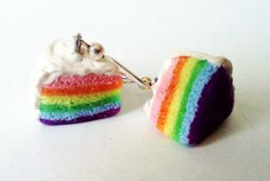 Rainbow Cake Earrings by fractalbeauty25