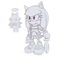Arcadia the Achiever + Puree the Chao (WIP) by Cylent-Nite