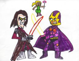 Tinkerbell over Anakin and Bibleman Fighting by SonicClone