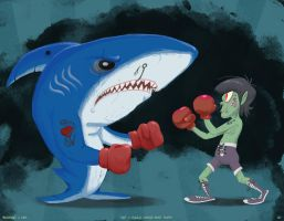Murdoc Fights a Shark by anniemae04