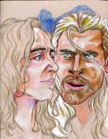 Thor and Loki WIP by AmberPalette