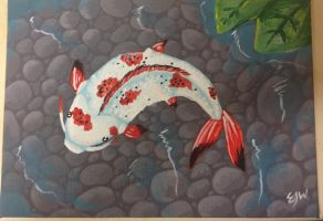 Koi Painting - Acrylic 5x7 by omfgitsbutter